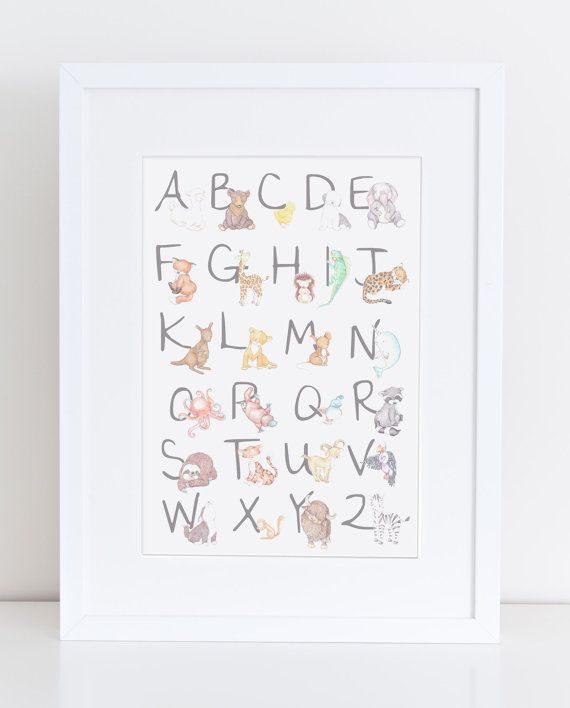 Baby Nursery Art Print Dog Abc Nursery Decor Alphabet Print: Animal Alphabet Nursery Art Print, Animal Illustration For