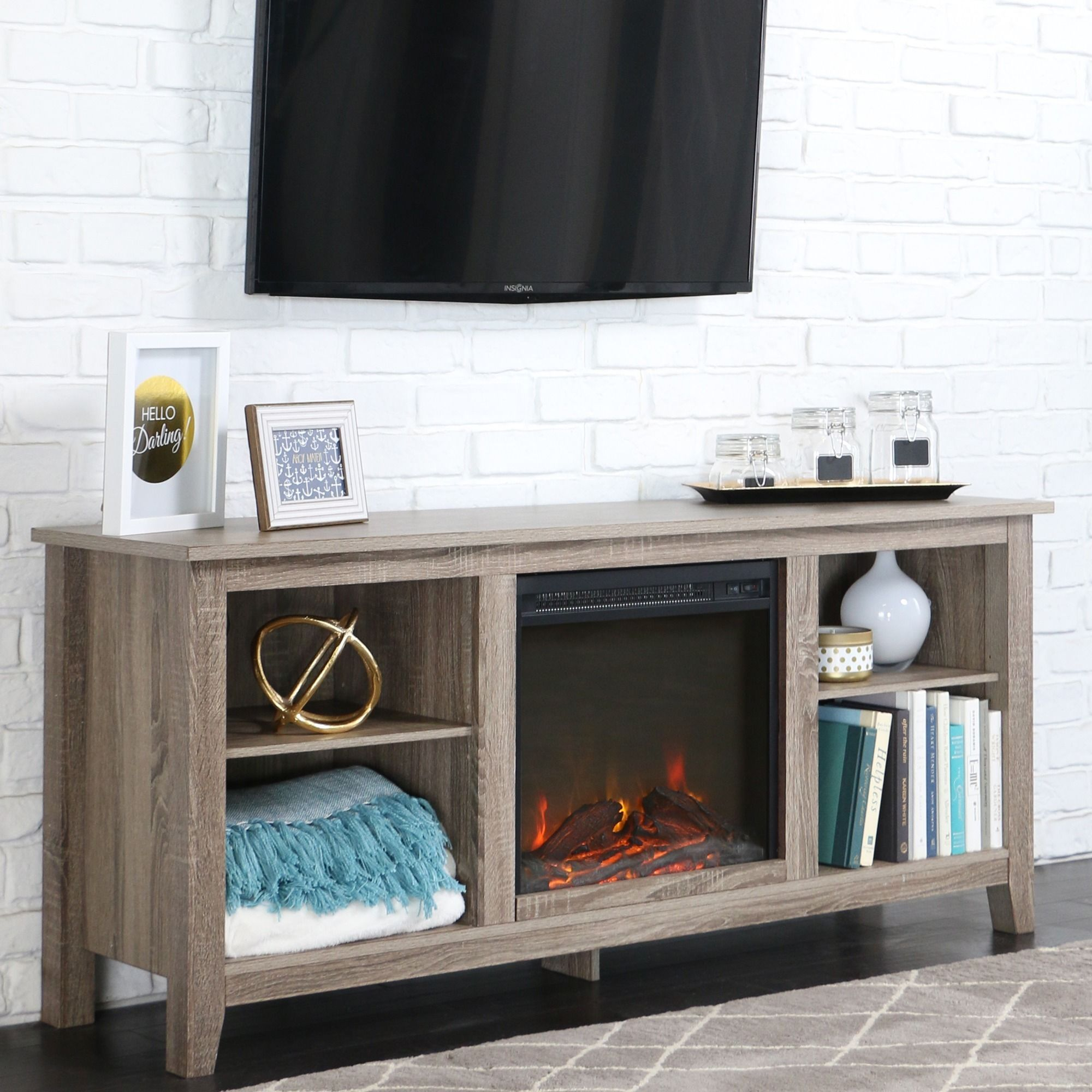 58 inch Driftwood Wood TV Stand with Fireplace