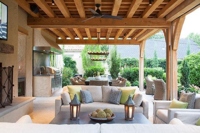 Covered patio with outdoor kitchen and outdoor living room. #patio ...