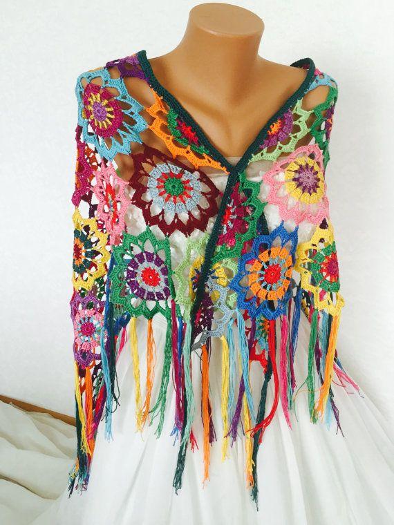 Colourful Crochet Shawl Boho Gypsy Shawl Hippie Patchwork Colorful