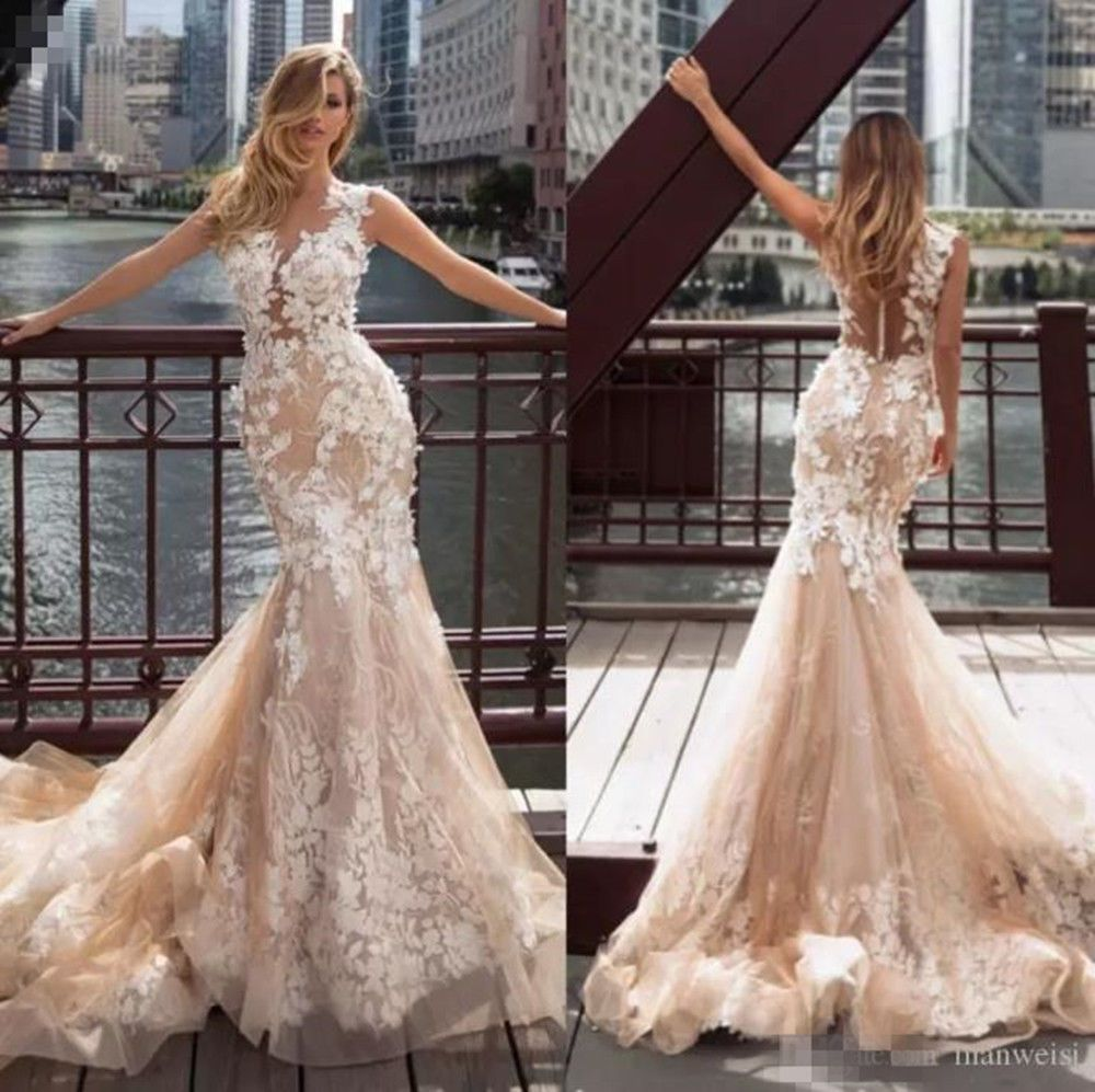 Gorgeous 3d Floral Lace Wedding Dress Mermaid Champagne Sleeveless Bridal Gown Sheer Wedding Dress Wedding Dresses Sweep Train Wedding Dress [ 997 x 1000 Pixel ]