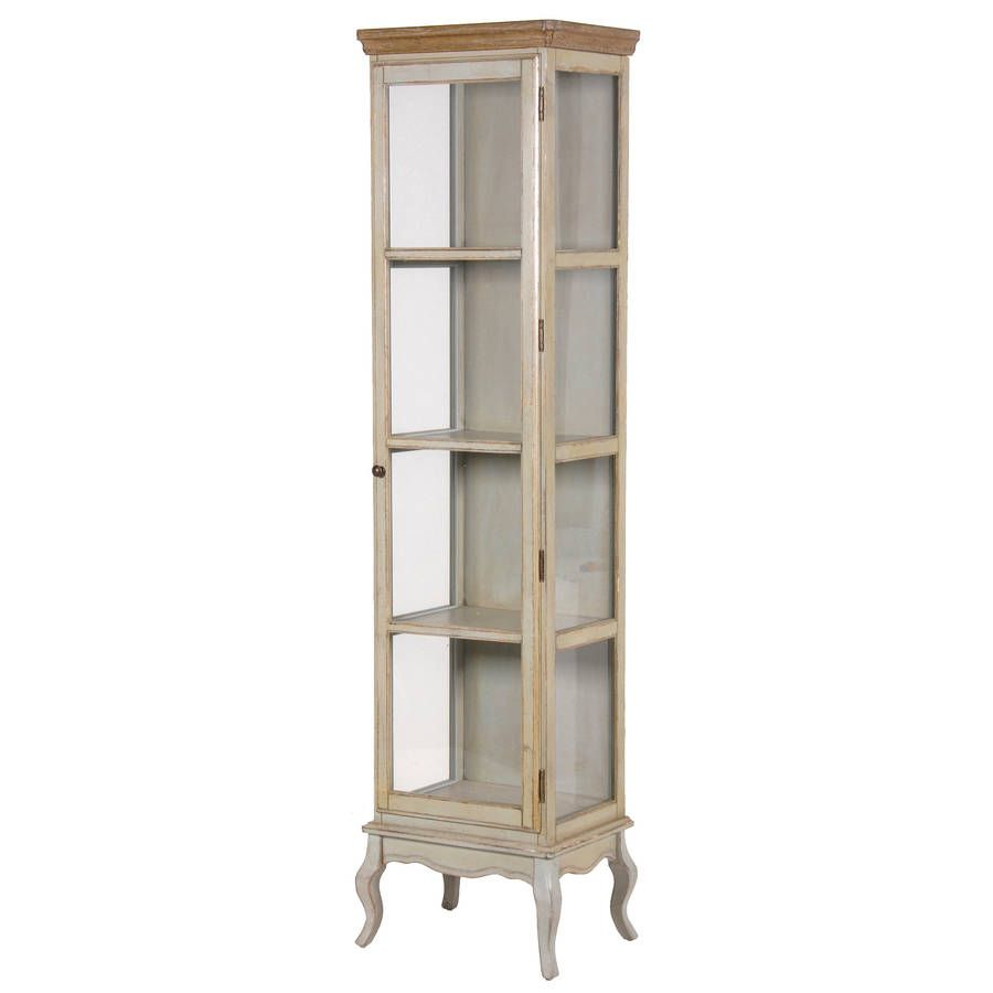 A Lovely Tall And Thin Glass Cabinet, Perferct For Displaying Glasses,  Bottles And Smaller