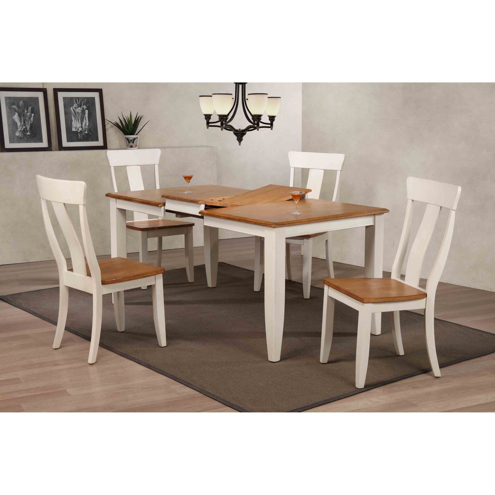 Iconic Furniture Rectangle Antiqued Panel Back 5 Piece Dining