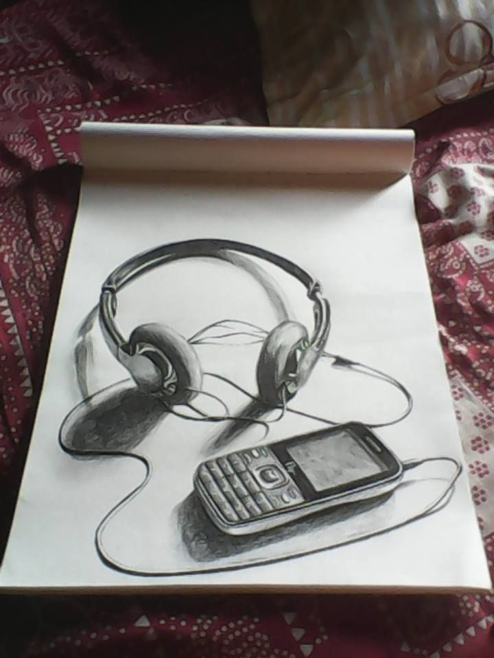 This artwork is a drawing of headphones and a cellphone