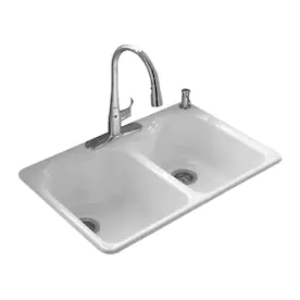 Kohler Hartland Drop In 33 In X 22 In White Double Equal Bowl 4 Hole Kitchen Sink Lowes Com In 2021 Drop In Kitchen Sink Top Mount Kitchen Sink Commercial Kitchen Sinks