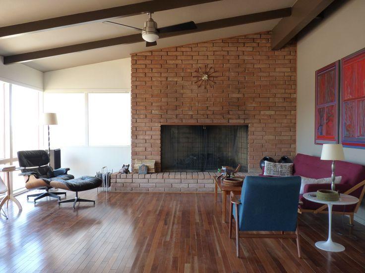 image result for mid century modern brick fireplace fire modern fireplace brick fireplace. Black Bedroom Furniture Sets. Home Design Ideas