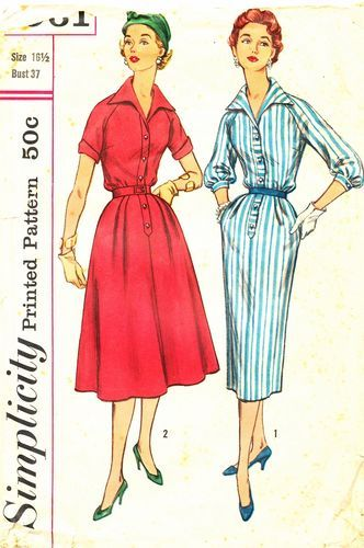 Simplicity Pattern 1961 Vintage 50's Half-Size Shirtwaist - Full or Slim Skirt - Complete Size 16 1/2 Bust 37