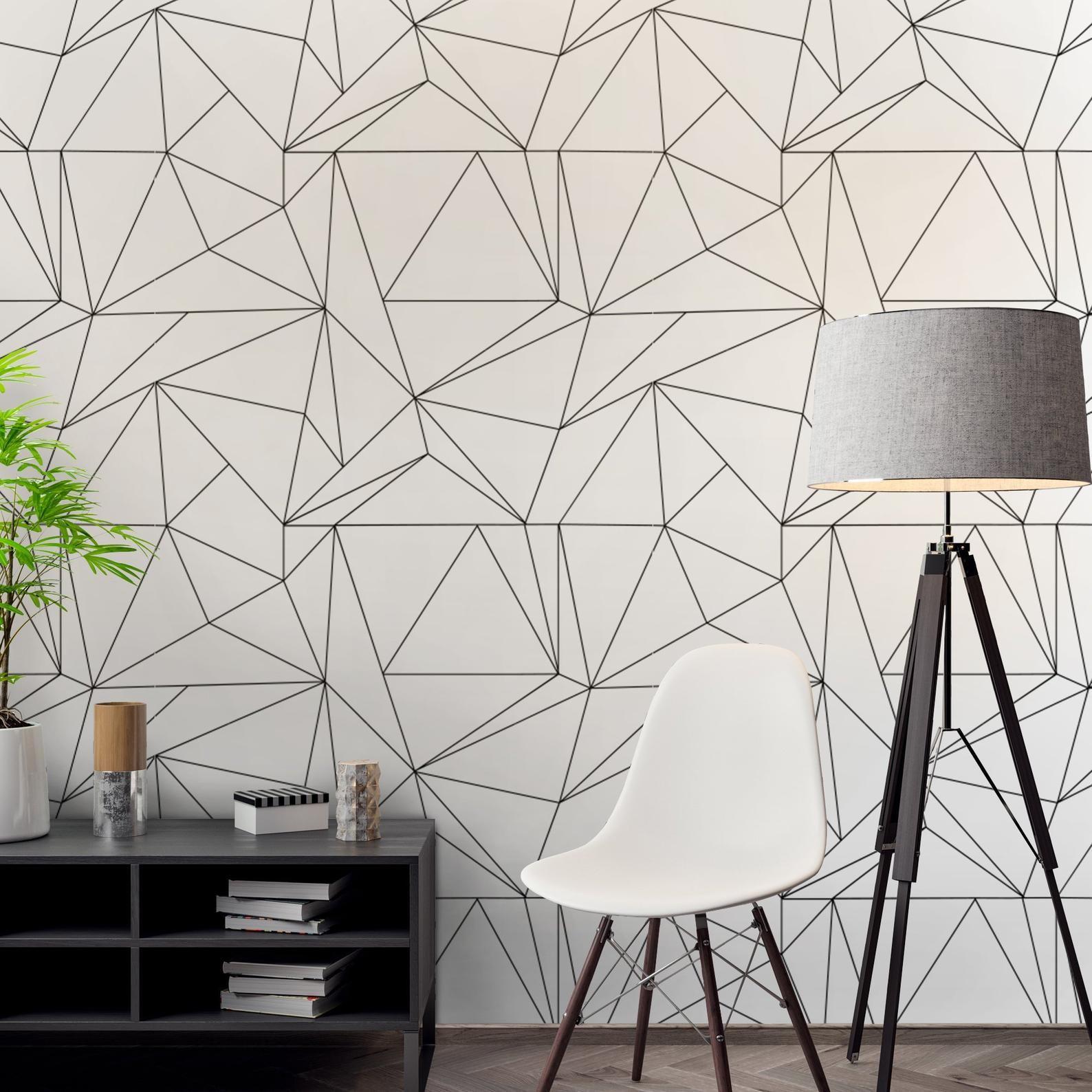 Geometric Polygon Wallpaper Wallpaper Black and White