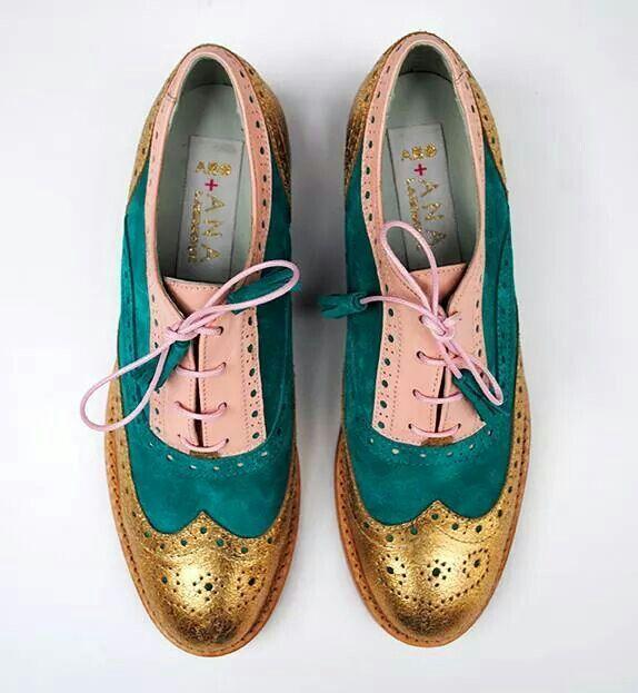 ABO + Ana Ljubinkovic gold, green, powder color brogues #shoes #brogues #oxfords…