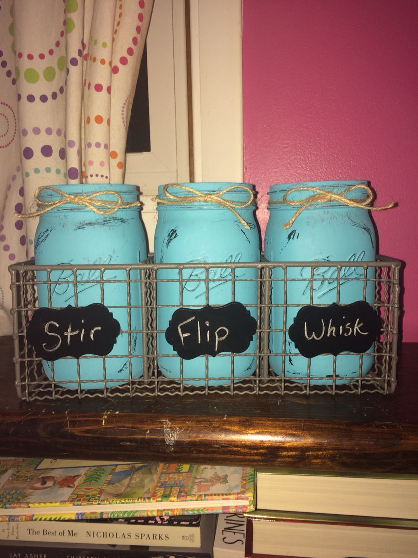 Stir. Flip. Whisk. Utensil Containers! All you need is 3 wide mouth ...