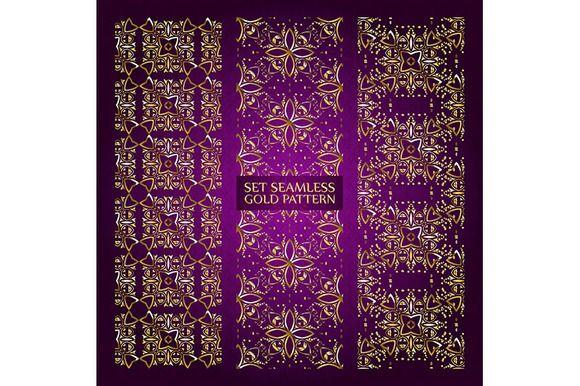 Set of 3 golden lace pattern purple by nastyaaroma on @creativemarket