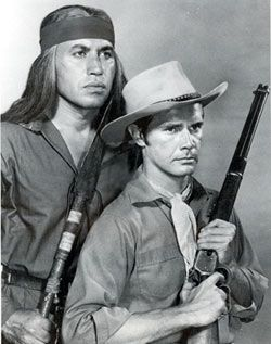"""""""Broken Arrow""""  Indian leader Cochise, played by then 33 year old Michael Ansara, and his relationship with his white blood-brother, Indian Agent Tom Jeffords, played by John Lupton"""