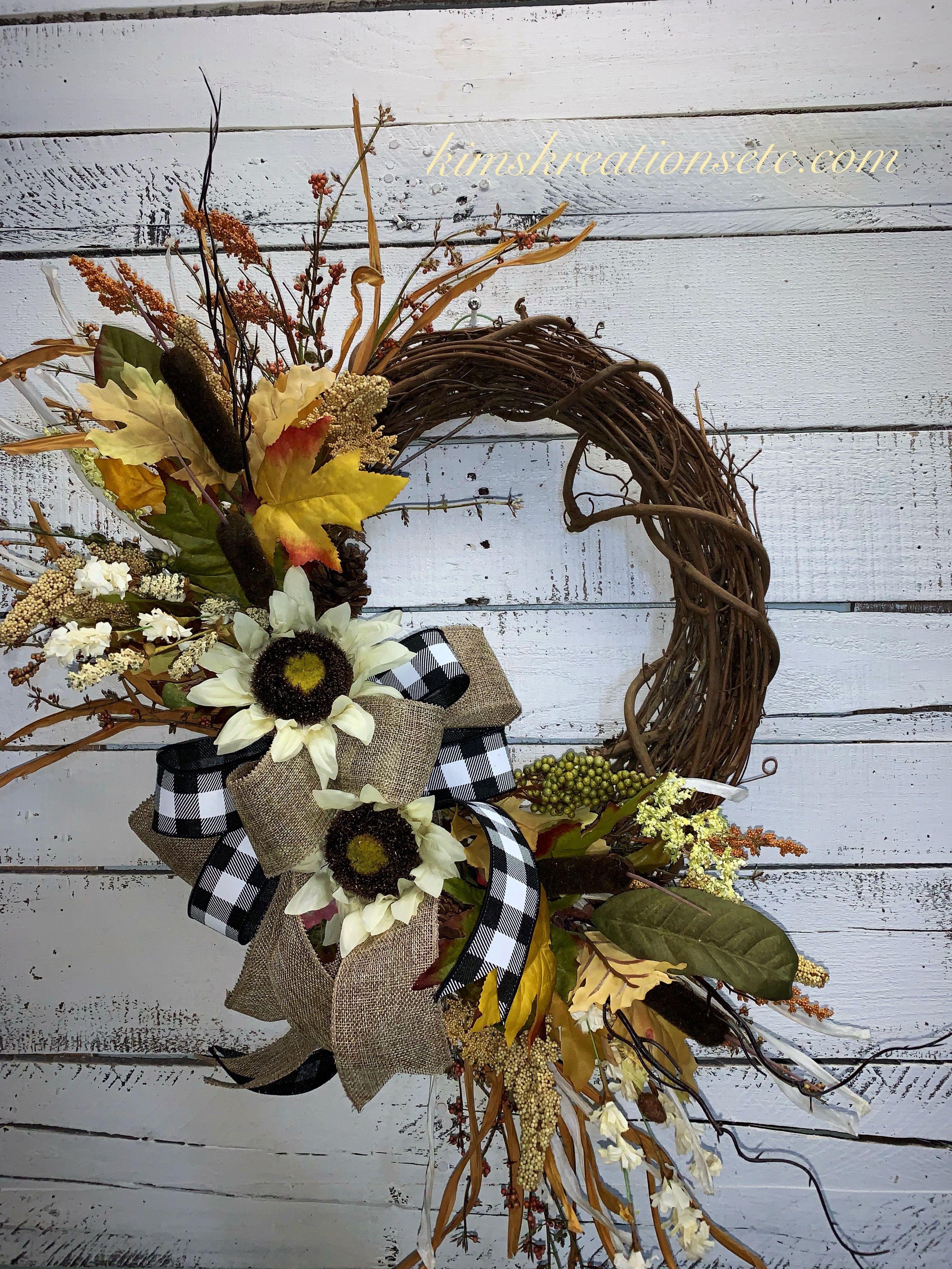 Fall Wreath Fall Door Wreath Fall Sunflowers Fall Wreath With