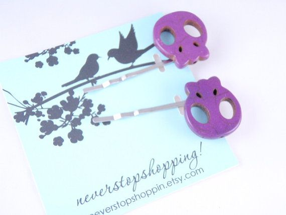 Purple  Plum   Skull Bobby Pins set of 2  by neverstopshoppin, $5.00