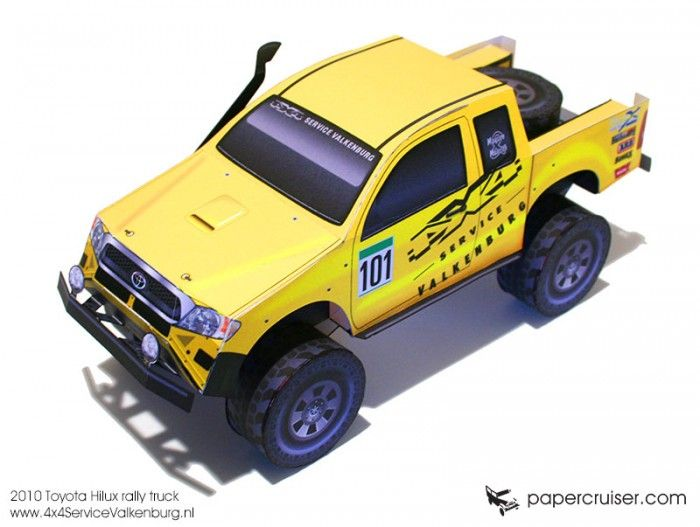 New Rally Truck Paper Model 4 4 Service Valkenburg Toyota Hilux Paper Models Paper Model Car