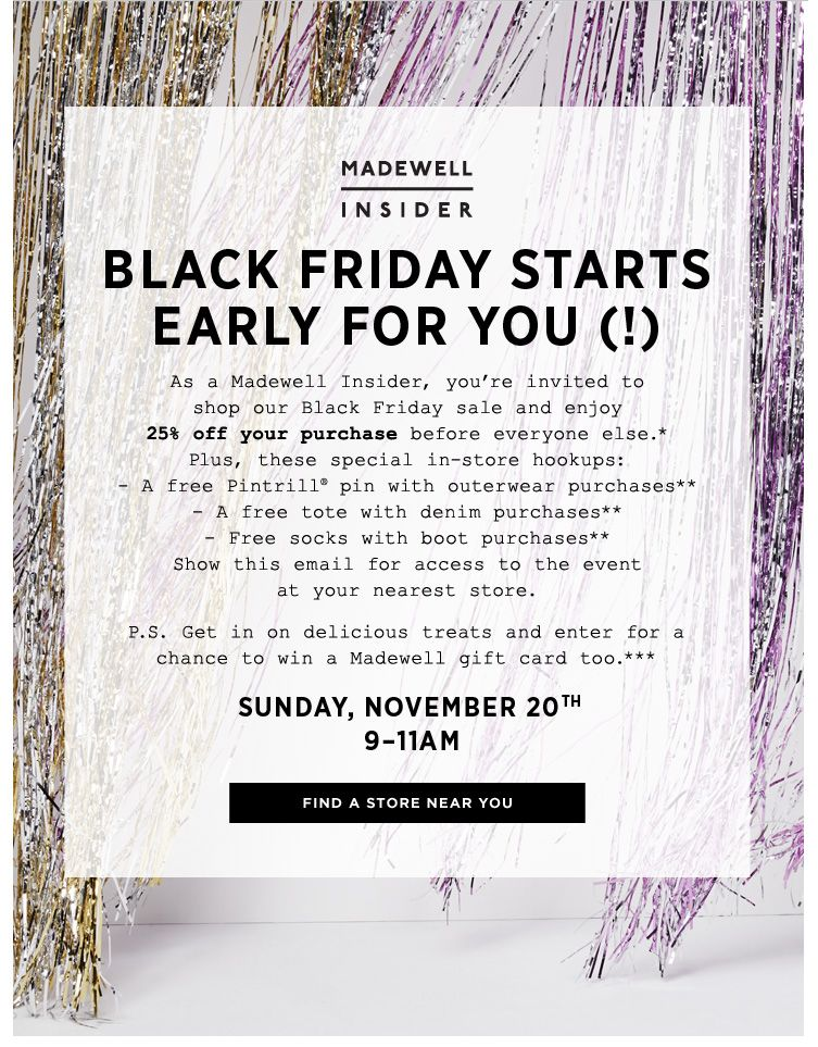 Madewell Loyalty Holiday Email Madewell Insiders Shop First