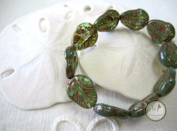 Green Aqua Trilobite Beads Green Trilobite Czech Glass Beads Aqua Trilobite Picasso Beads Trilobites Beads 13x11mm (6 pcs) 204V3