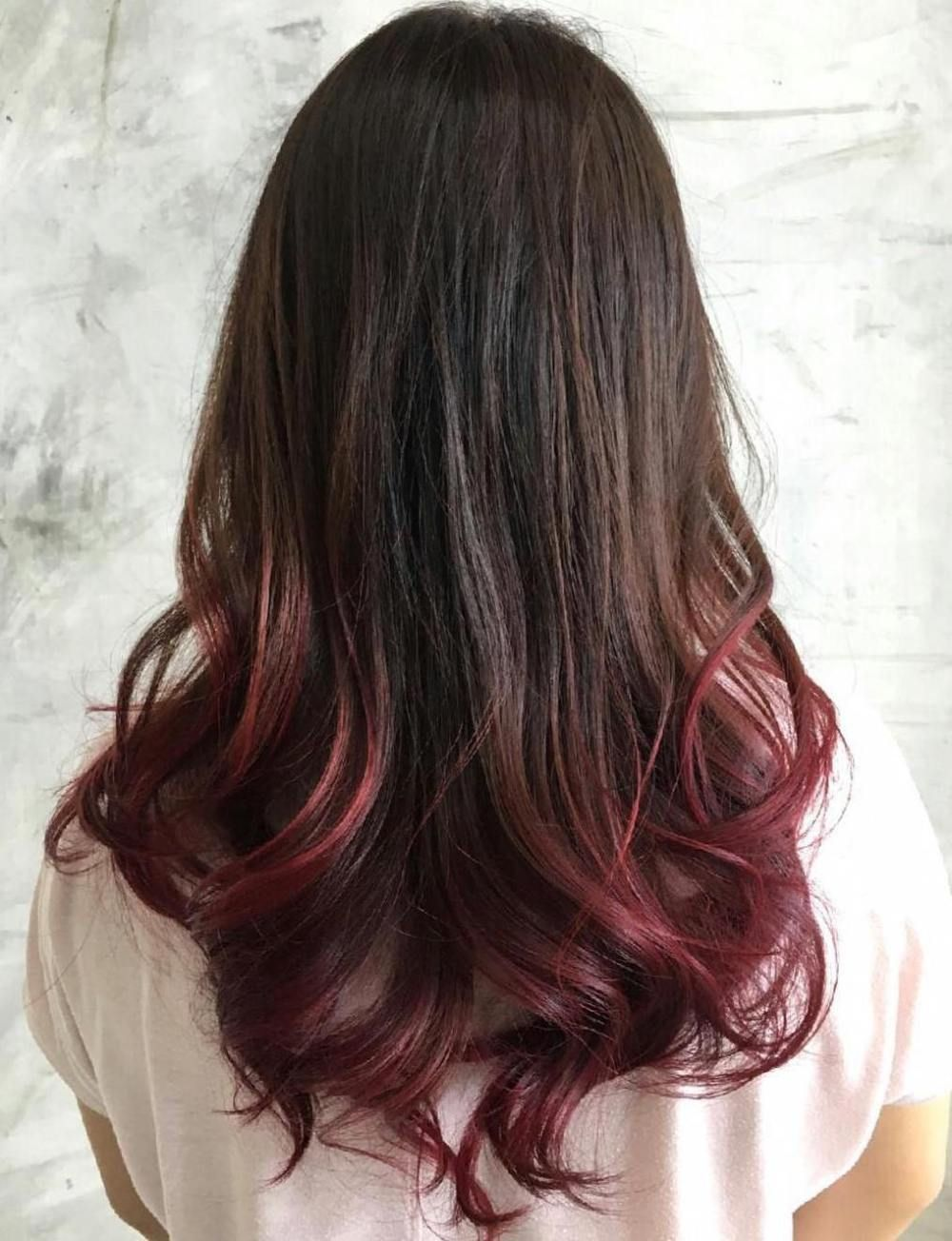 40 Vivid Ideas For Black Ombre Hair Burgundy Brown Hair Dipped Hair Brown Hair Dye