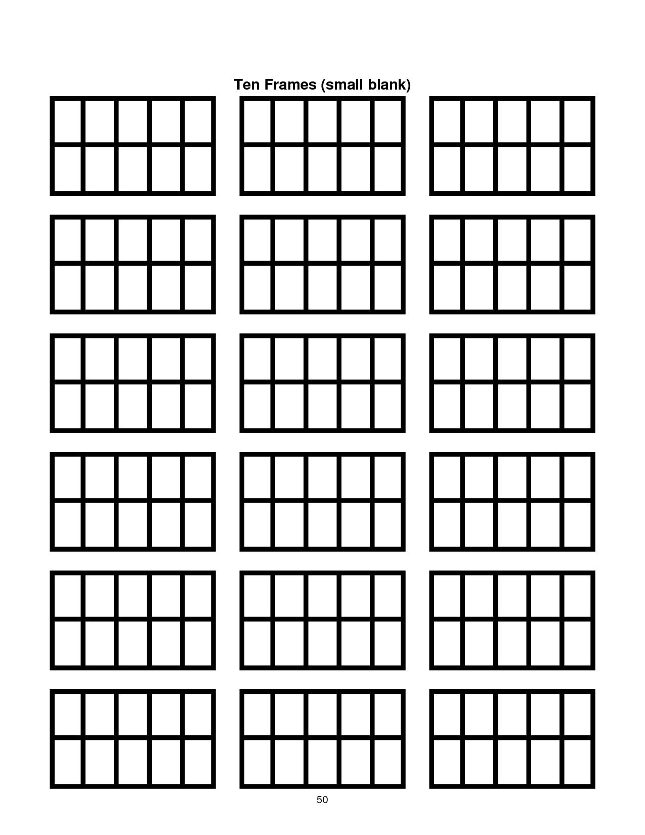 ten frame template printable | Document Sample | Classroom Ideas