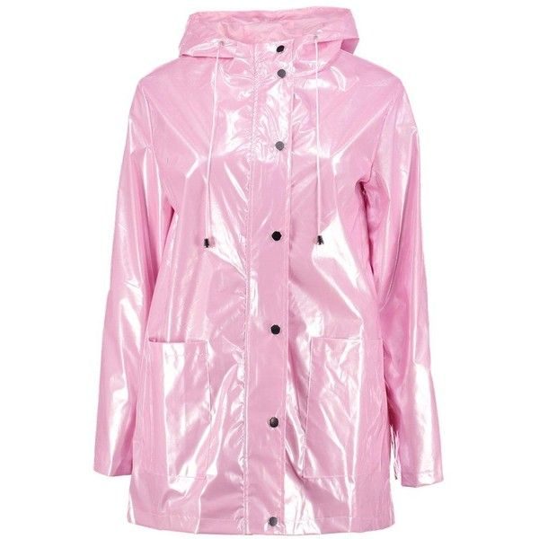 vivid and great in style classcic various colors Boohoo Lily Metallic Rain Coat ($58) ❤ liked on Polyvore ...