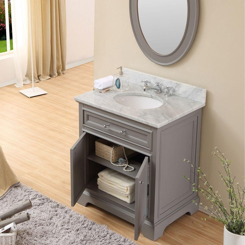 Water Creation 30 in W x 215 in D x 34 in H Vanity in Cashmere