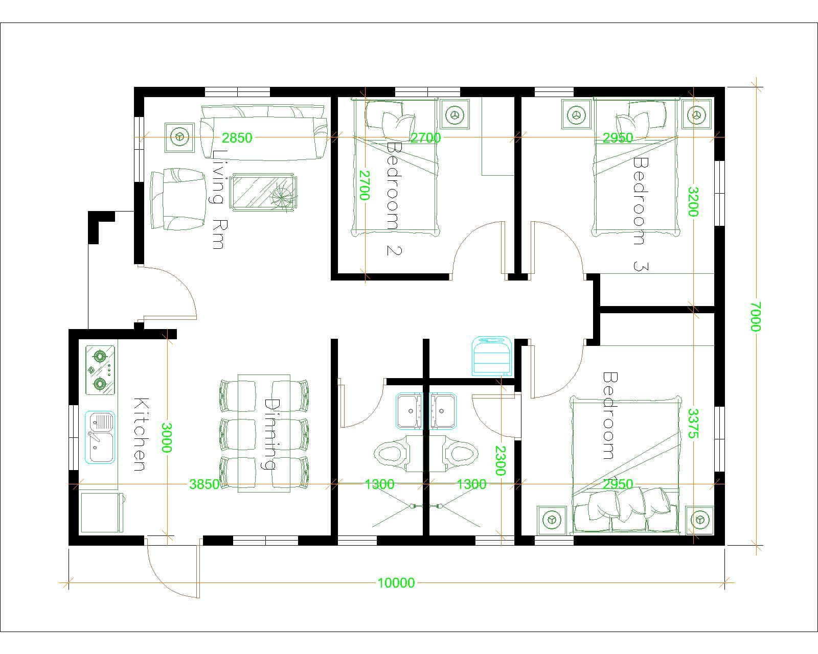 House Plans 7x10 With 3 Bedrooms House Plans Free Downloads My House Plans Simple House Design House Plan Gallery