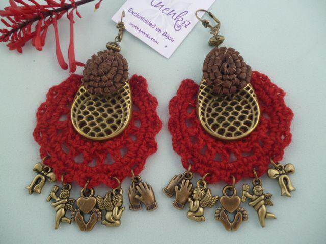 Aros Invernales y Artesanales con Cuero y Tejido al Crochet en Lana