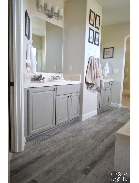 Dark Gray Weathered Wooden Floors In Rustic Bathroom Wood Tile