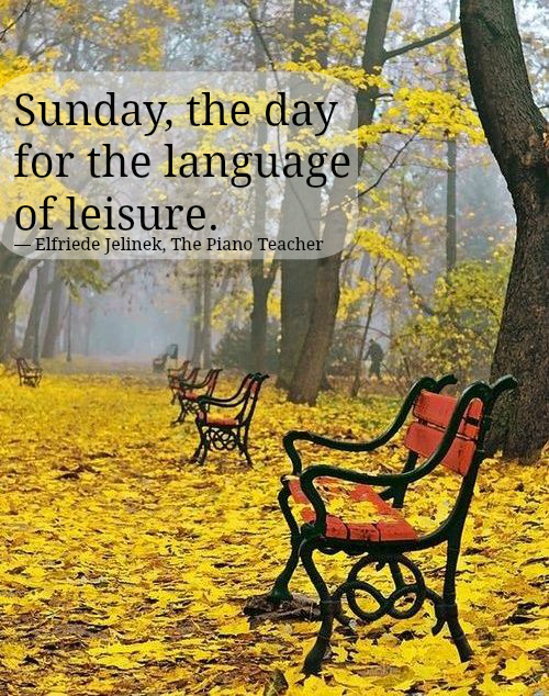 Sunday, the day for the language of leisure. Elfriede Jelinek, The Piano Teacher, http://www.SocialPosties.com, fall in the park, leaves