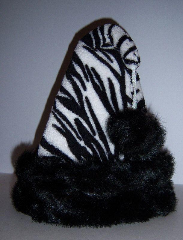 bb24258abfbf5 Black and white zebra fleece santa hat with black trim