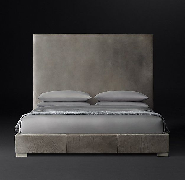 Non-Tufted Panel Leather Platform Bed California King ... thinking ...