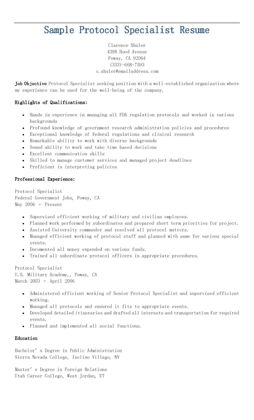 Sample Protocol Specialist Resume | resame | Pinterest | Homework diary