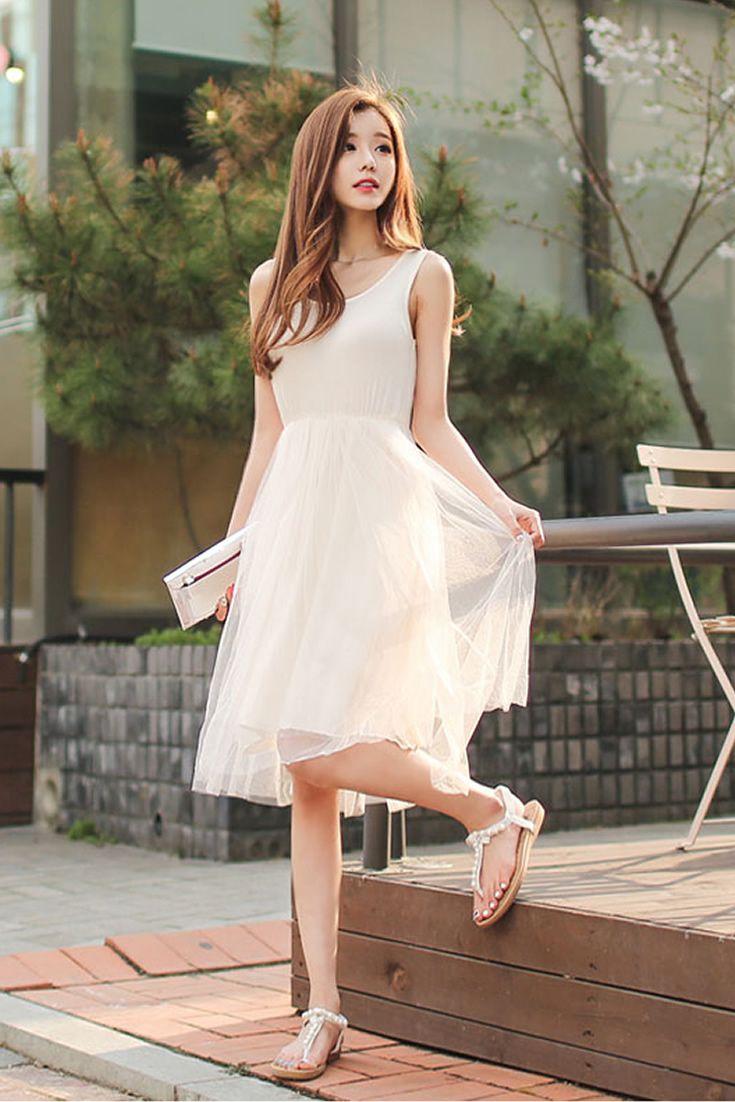 White Fairy Dress, South Korea Airport Fashion Kpop Drama Korean ...