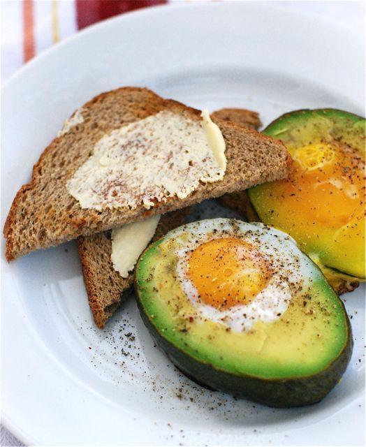 Eggs baked in avocado for breakfast. Mmmm.