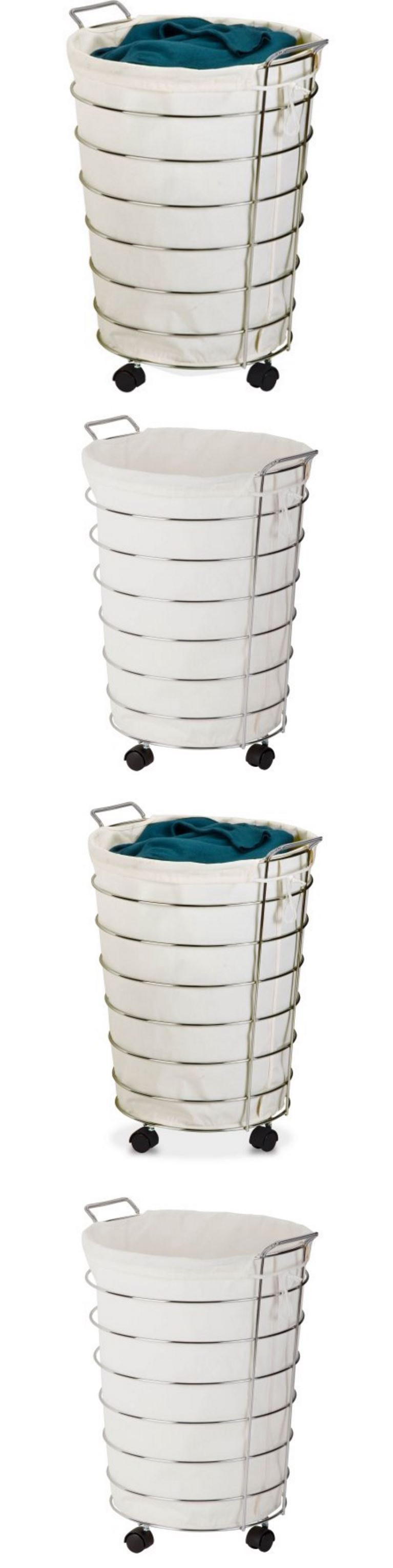 White tilt out clothes storage basket bin bathroom drawer ebay - Hampers 43517 Baby Clothes Hamper Kids Dirty Laundry Wheels Basket Bin Canvas Drawstring Bag