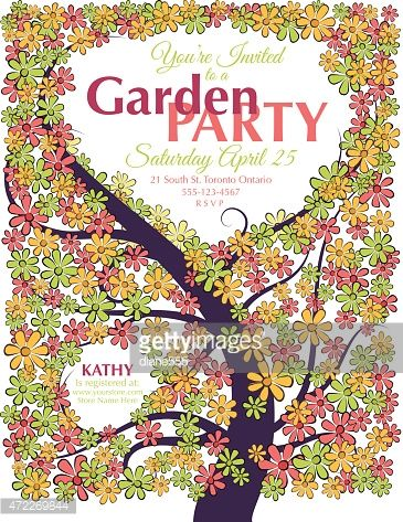 garden party invitation template cute doodle flower curvy tree