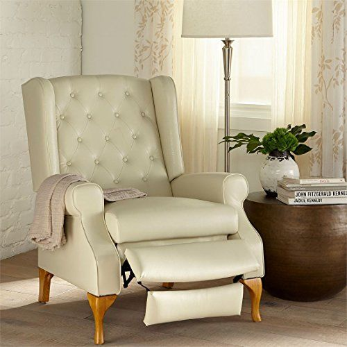 Brylanehome Queen Anne Style Tufted Wingback Recliner Ecru0