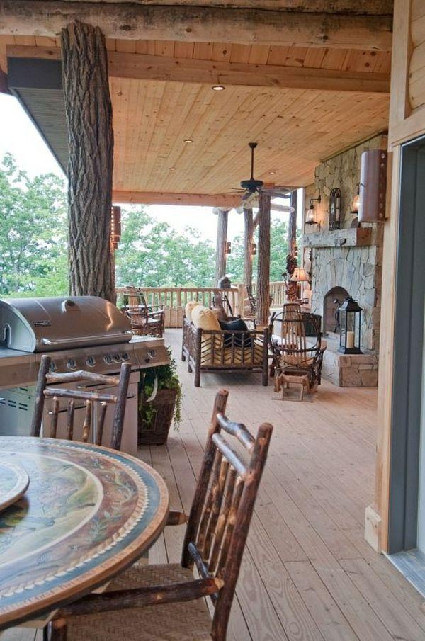 Veranda Amerikanisch veranda mit outdoor küche amerikanische holzhäuser one log at