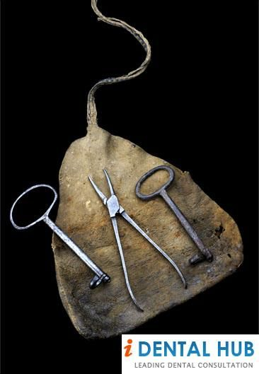Three dental instruments in a leather pouch, England, 1800-1850. Read more info on Instruments for Tooth Extraction @ http://www.identalhub.com/dental-instruments-for-tooth-extraction-885.aspx
