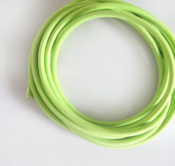 Wire by METER Apple Green Fabric Cloth Covered Wire Electrical Cord ...