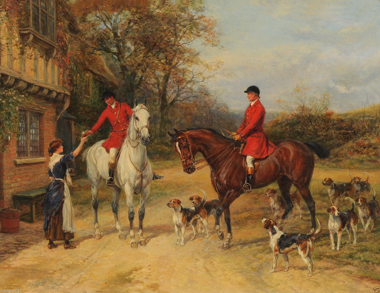 Painting Vintage Fine Art Poster Dogs Fox Hunt Heywood