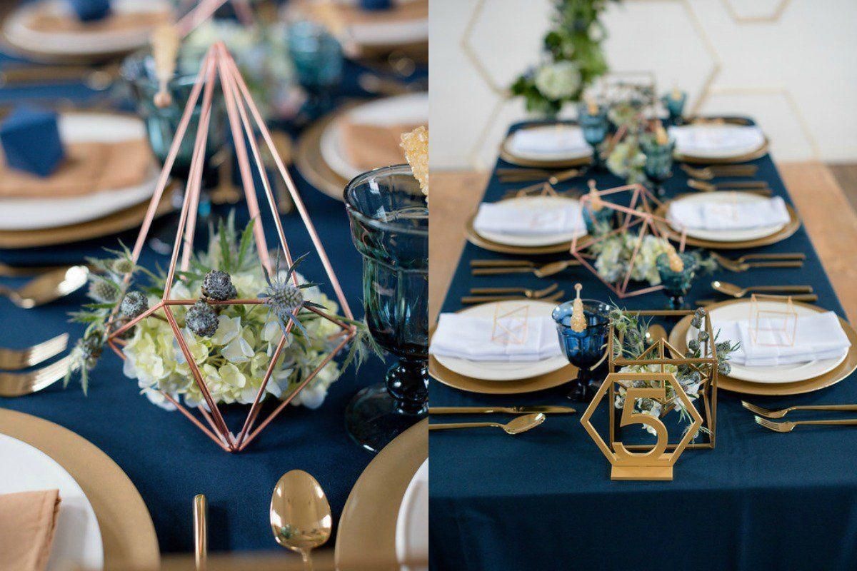 table setting steel blue geometric geode wedding shoot royal rh pinterest com au