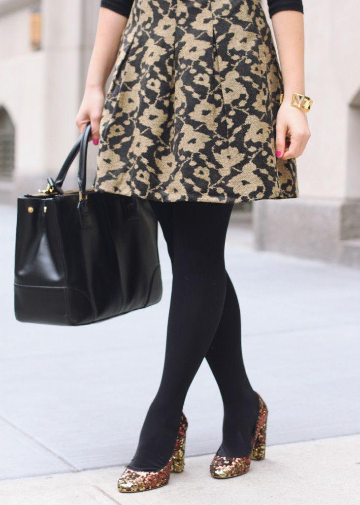 gold sequin shoes.