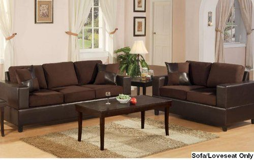 Bobkona Seattle Microfiber Sofa And Loveseat Set In Chocolate Color 3  Matching Accent Pillos Included High Quality Poly Fiber Inner Filling Easy  Assembly