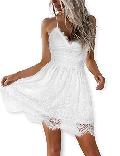 0fcd5bcb5805 AOOKSMERY Women White Summer V-Neck Spaghetti Straps Lace Backless Party  Club Beach Mini Dresses