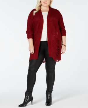 bcb0b2e85b9 Planet Gold Plus Size Distressed Cardigan Sweater - Black 1X ...