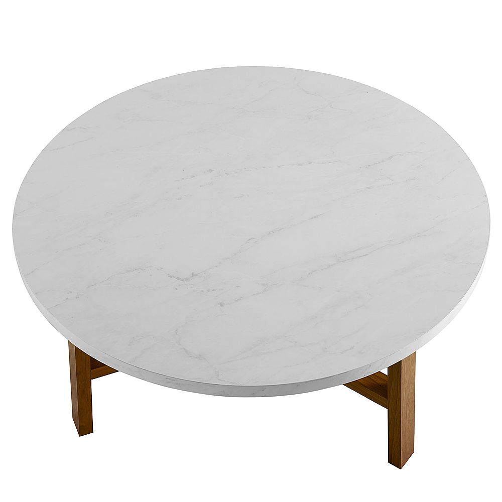 Walker Edison 30 Round Coffee Table White Marble Pecan Bbf30emctpc Best Buy In 2021 Coffee Table White Round Coffee Table Round Coffee Table Modern [ 1000 x 1000 Pixel ]