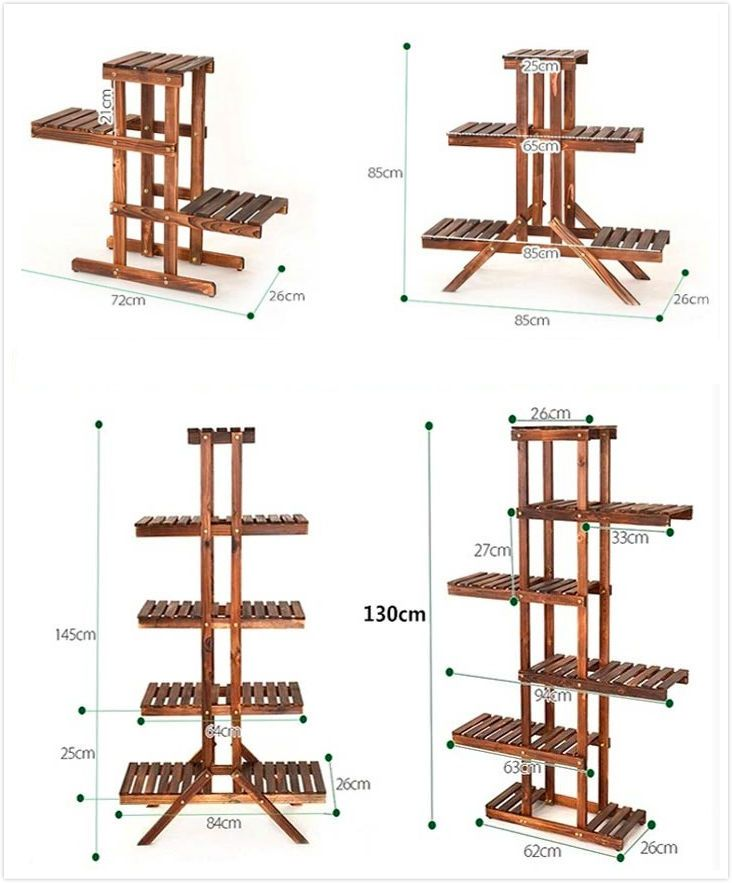8 Tier Wood Shelf Plant Stand Bathroom Rack Garden Planter Pot Holder Carbonized Handmade