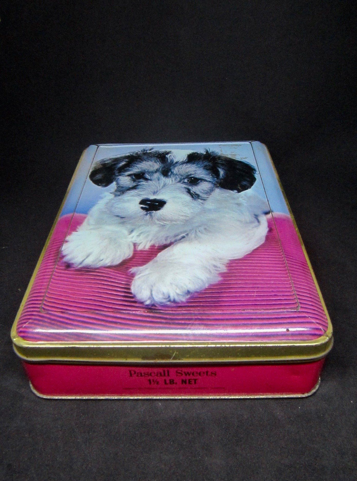 Australian Pascall Sweets Puppy Tin Vintage 1 1 2 Lb Rectangular Confectionery Tin 1960 S Claremont Tasmania By Vintage Tins Vintage Country Vintage