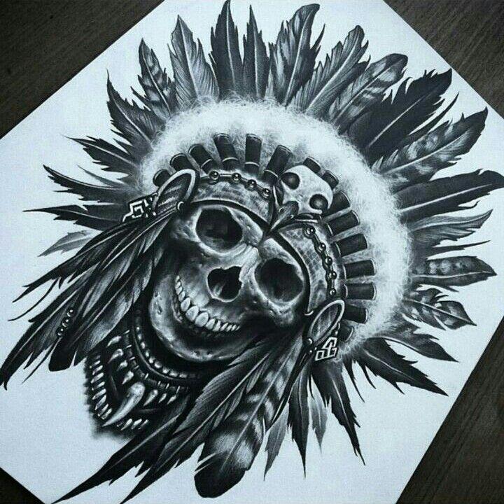 e08e80036 Cool native american scull Indian Head Tattoo, Native Indian Tattoos,  Indian Chief Tattoo,